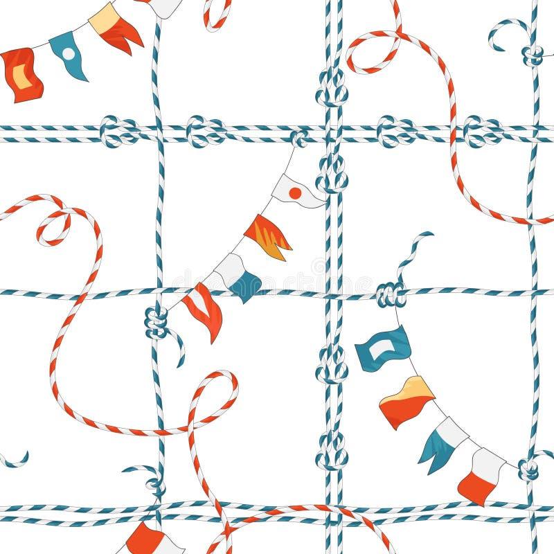 Marine Seamless Pattern met Kabelknoop en Vlaggen Zeevaartstoffenachtergrond met het Ornament van de Lijnmarine voor Behang royalty-vrije illustratie
