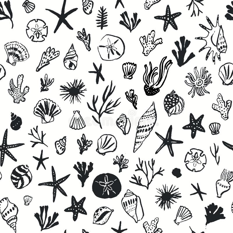 Marine seamless pattern with shells and corals stock illustration