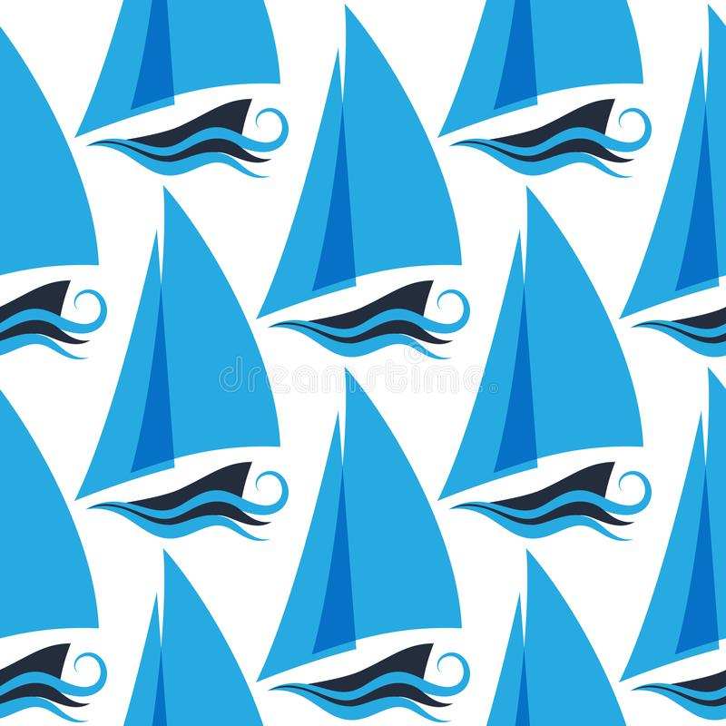 Marine seamless pattern with ships on the waves. Sailboat royalty free illustration