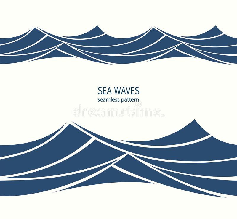 Marine seamless pattern with stylized blue waves on a light back vector illustration
