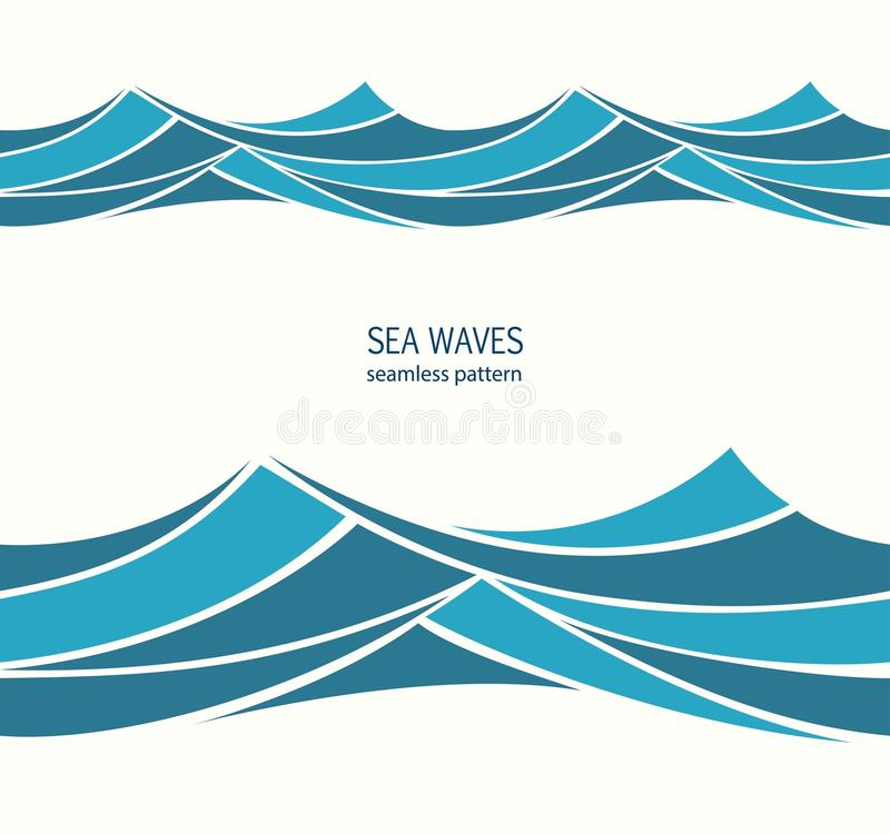 Marine seamless pattern with stylized blue waves on a light back royalty free illustration