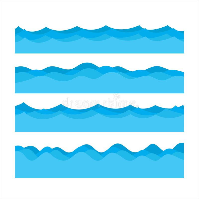 Marine seamless pattern with stylized blue waves on a light background. Water Wave abstract design stock illustration