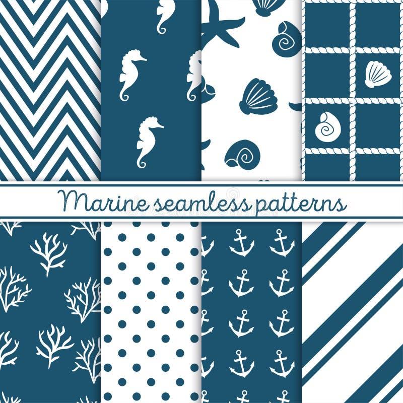Marine seamless patterns set. Design elements for wallpaper, baby shower invitation, birthday card, scrapbooking, fabric vector illustration