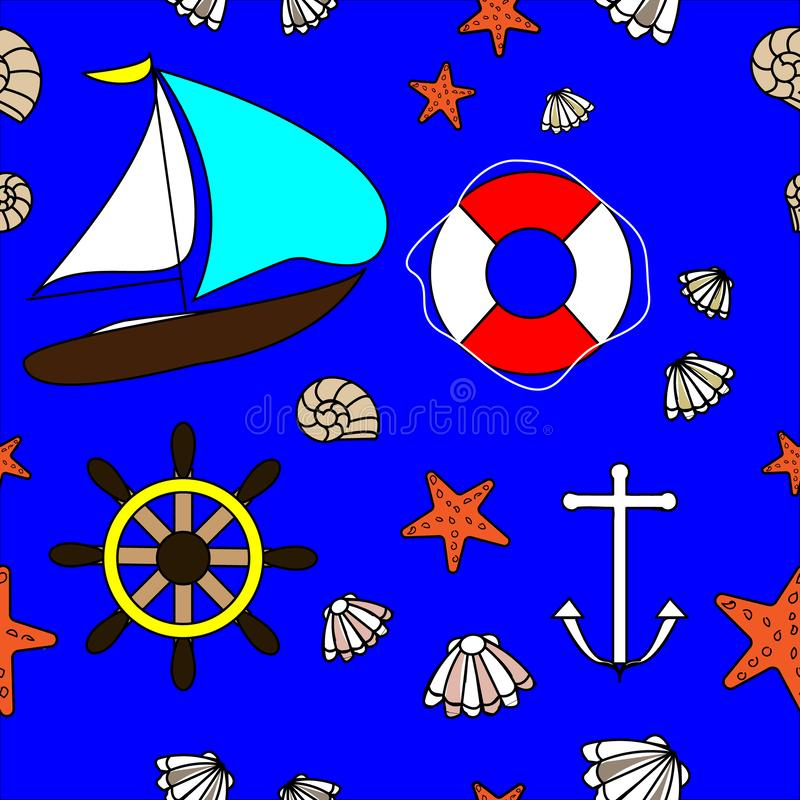 Marine seamless with sailing yacht and underwater decorative elements royalty free illustration
