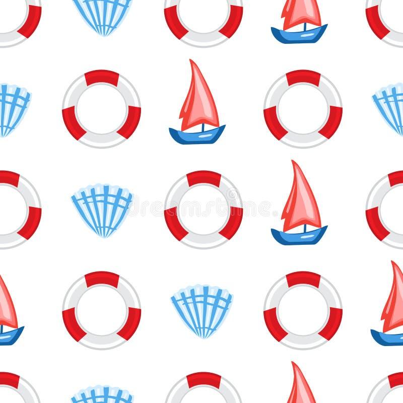 Marine seamless vector pattern cartoon lifeline, seashell, sailboat cute illustration isolated on white background vector illustration