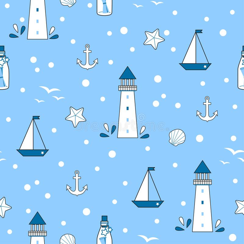 Free Marine Seamless Vector Pattern For Kids Textile Royalty Free Stock Photography - 217748477