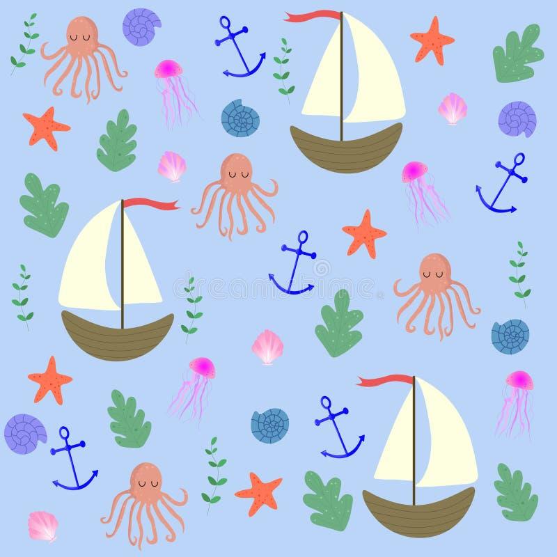Marine seamless  pattern. Light blue background. vector illustration