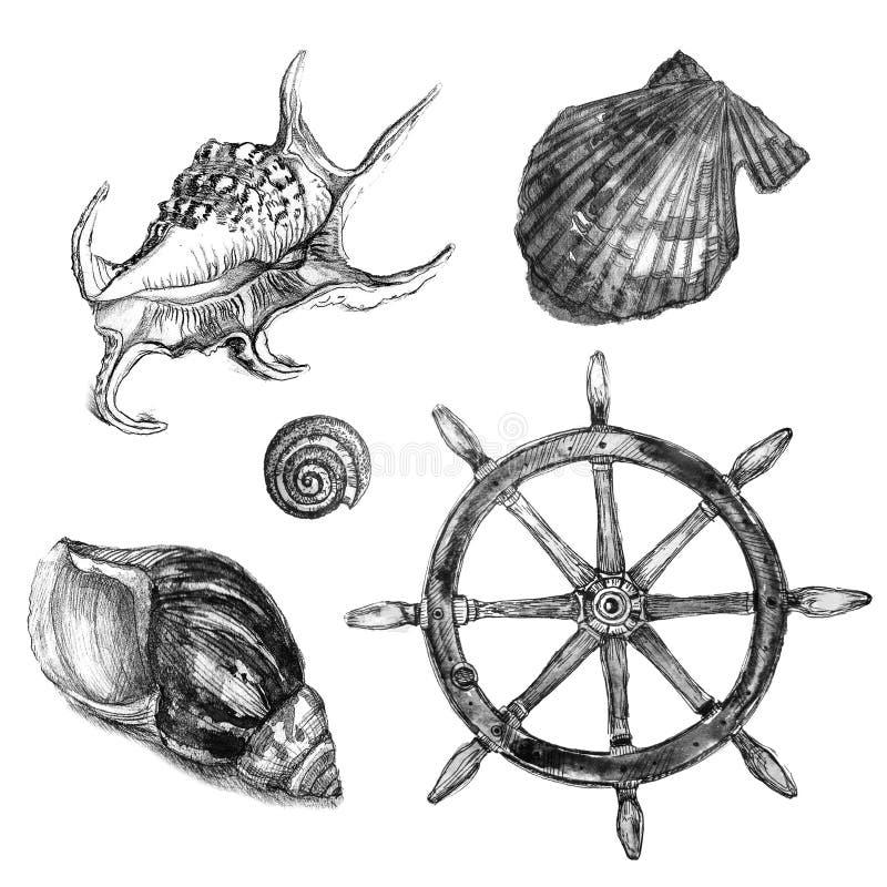Marine set. Black and white sketch stock image