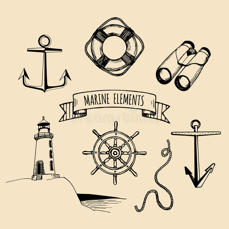 Marine set. Vector nautical elements. Hand sketched sea illustrations. Maritime design collection. Naval drawing series. royalty free illustration