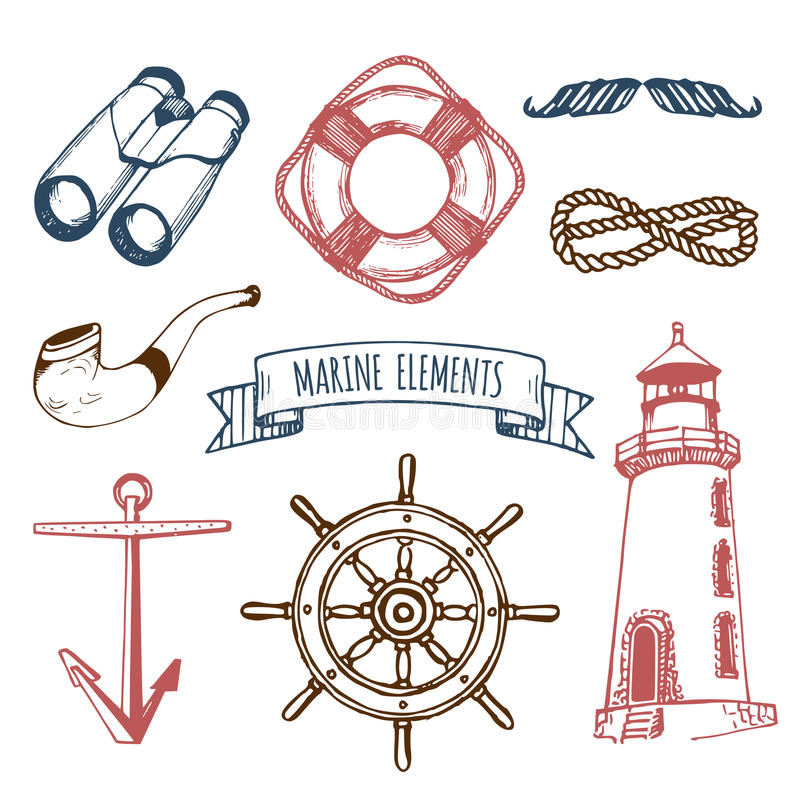 Key Elements Of Nautical Style: Marine Set. Vector Hand Sketched Sea Illustrations