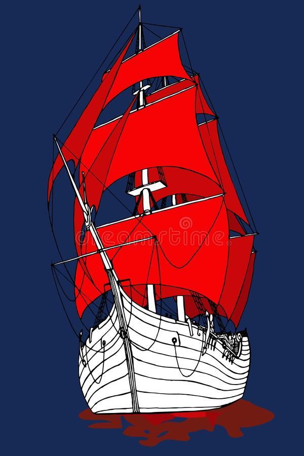 Marine ship with Scarlet sails frigate fabulous. Vector royalty free illustration