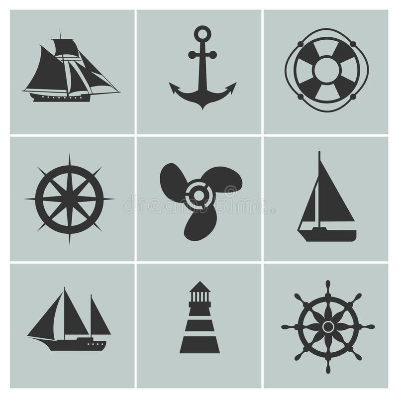 Marine and shipping icons. Boat, ship or yacht, anchor life buoy vector silhouette signs. Marine and shipping icons. Boat, ship or yacht, anchor and life buoy stock illustration
