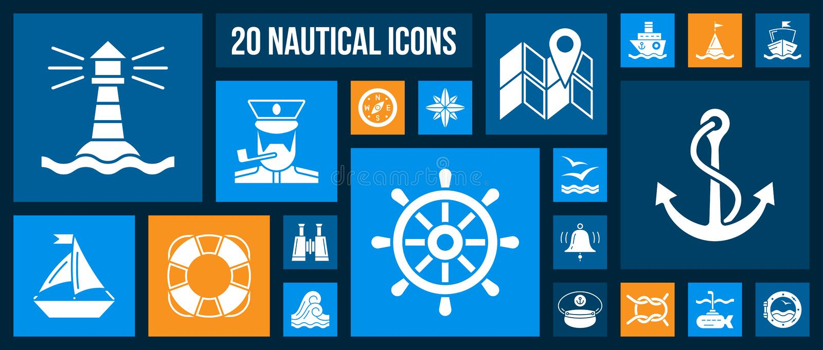 Nautical Marine white silhouette icons vector set. Marine silhouette icons set. Kit of nautical web signs. Pictogram collection includes sea knot, anchor stock illustration
