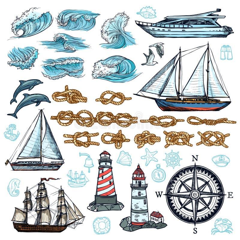 Marine Sketch Set illustration stock