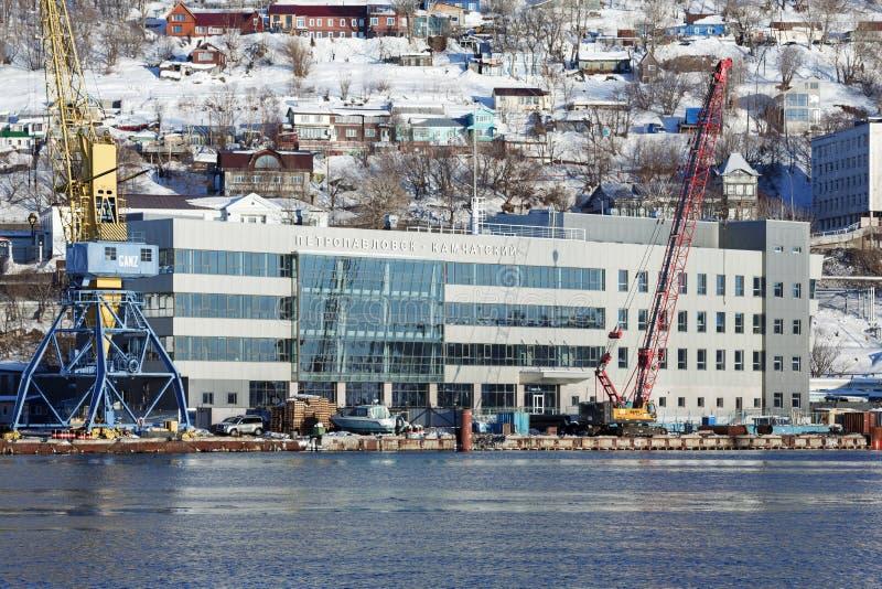 Marine Station i havsport Petropavlovsk-Kamchatsky på Kamchatka royaltyfria bilder
