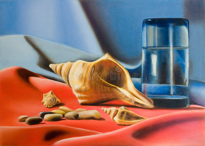Marine still life. Sea shells and a water glass composition. Hand painted illustration royalty free stock photos