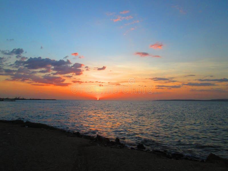 Marine sunset stock photos
