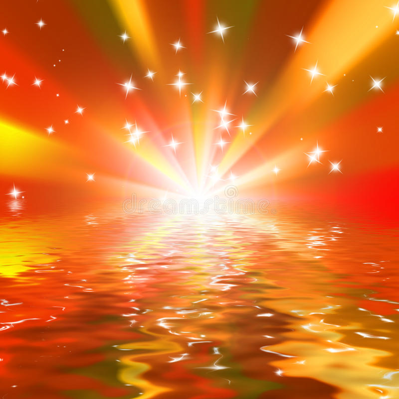 Marine Sunset Sparkles On A Red Royalty Free Stock Image