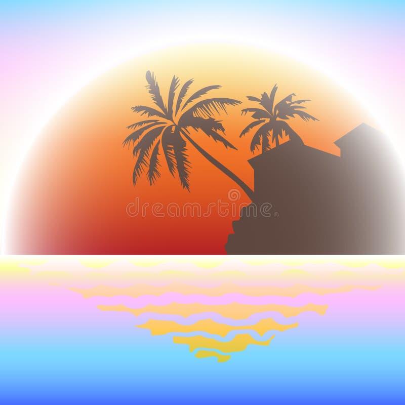 Marine Sunset tropical ilustração royalty free