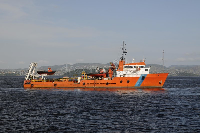Marine Support Vessels - Ship. A typical marine support vessels for oil exploration, anchor handling or environmental monitoring royalty free stock photo