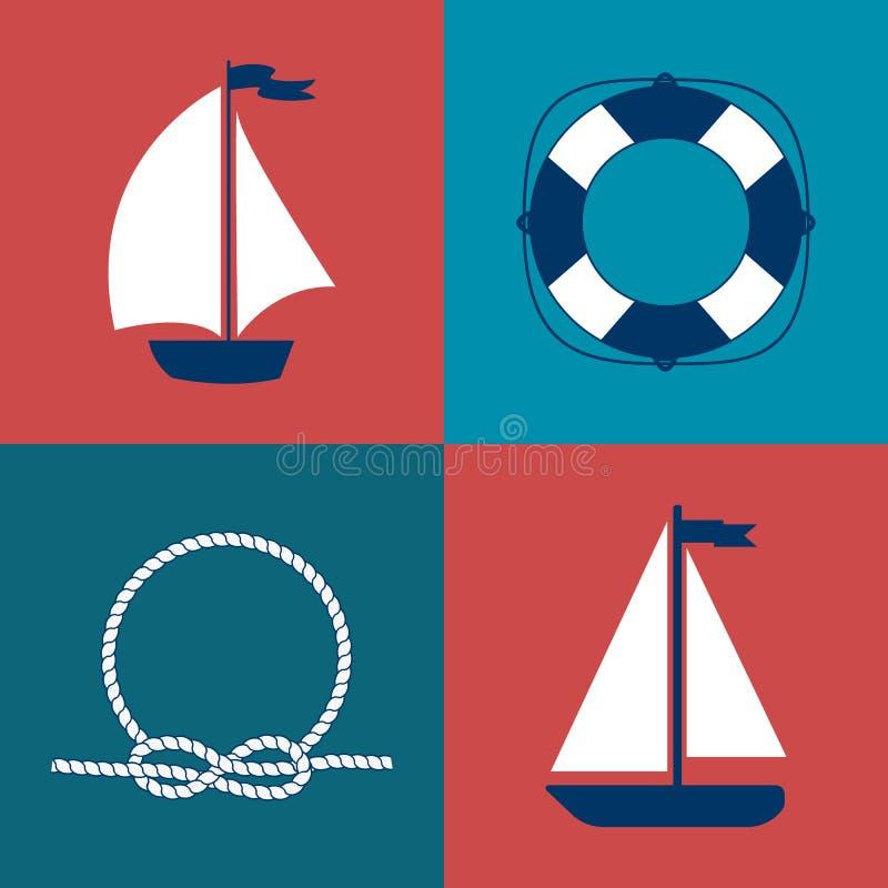 Marine Symbol Elementos náuticos do projeto ilustração do vetor