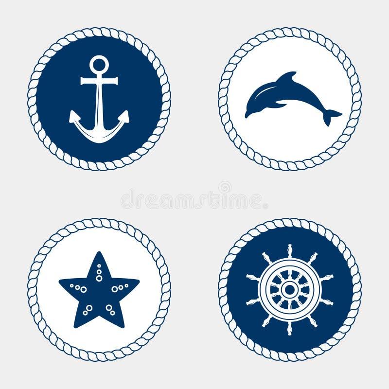 Marine Symbol Nautiska designbeståndsdelar vektor illustrationer