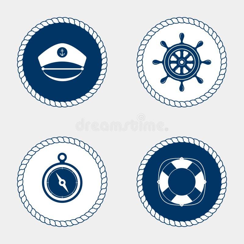 Marine Symbol Nautiska designbeståndsdelar stock illustrationer