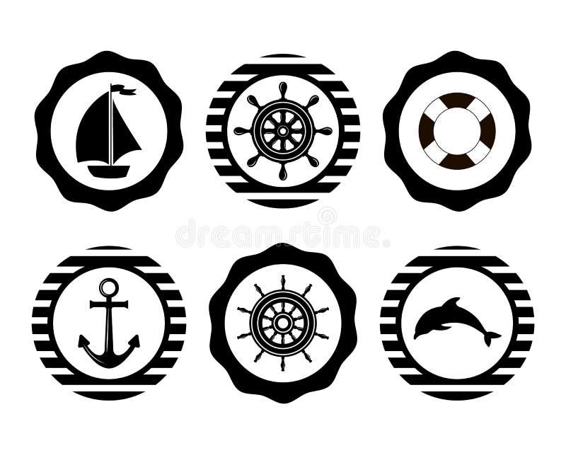 Marine Symbol Nautiska designbeståndsdelar royaltyfri illustrationer