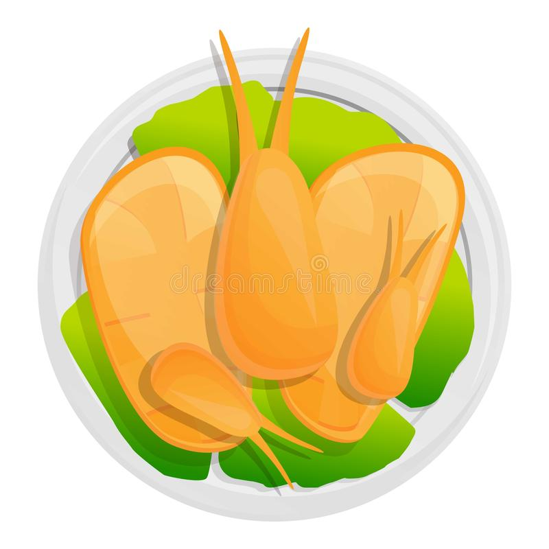 Marine thai food icon, cartoon style vector illustration