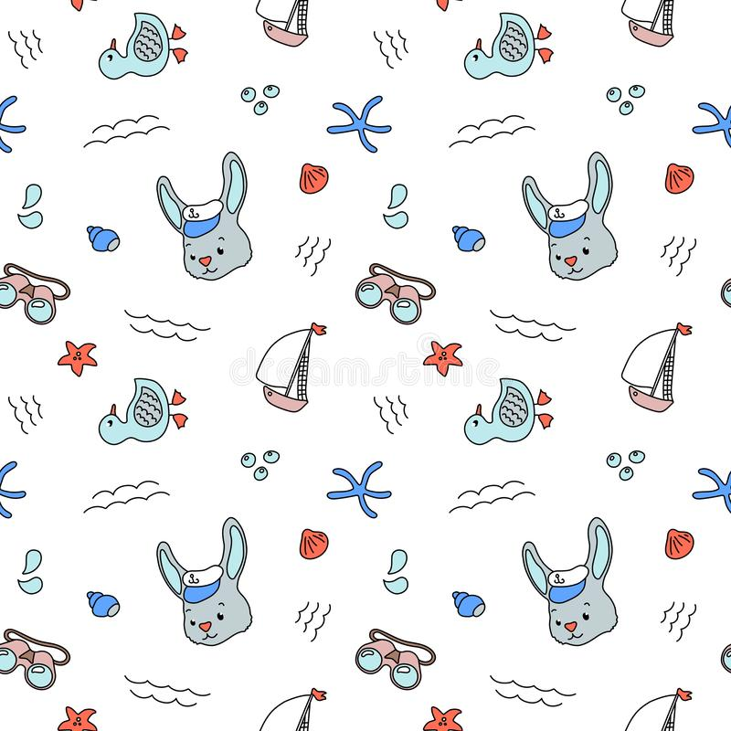 Marine theme colorful seamless pattern on white background. Rabbit sailor and yacht pattern. Blue white nautical print royalty free stock photos