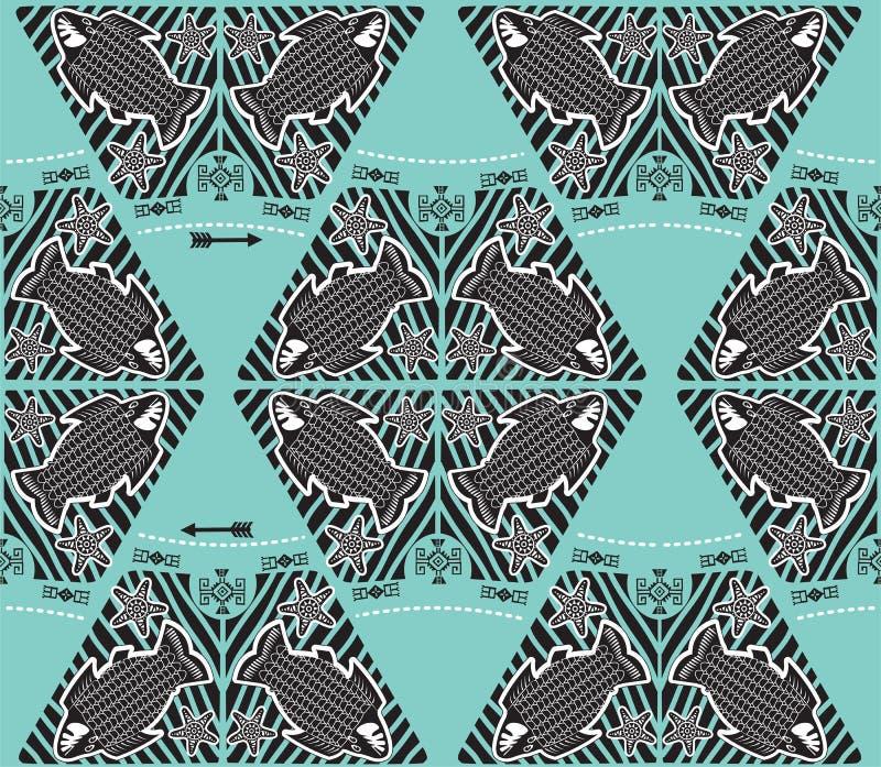 Marine Theme Pattern Vector Poissons d'abîme Modèle sans couture de vecteur avec les poissons et les flèches tribals de griffonna illustration libre de droits