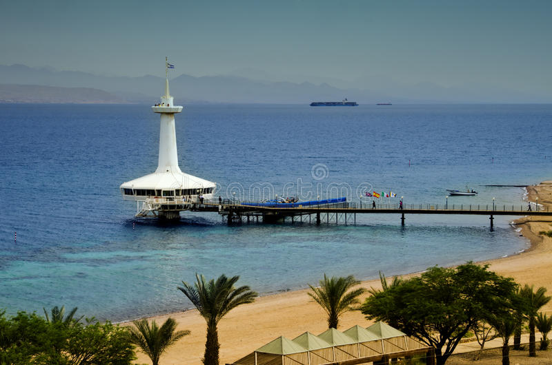 Marine underwater observatory, Eilat, Israel. The city of Eilat has become the ultimate resort city with beautiful marine beaches and resort hotels packed with royalty free stock images