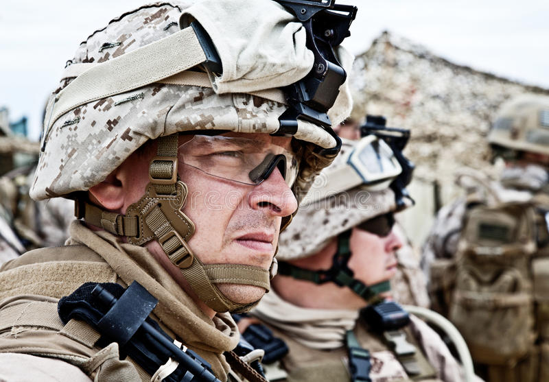 Marine. US marine in the uniform and protective military eyewear