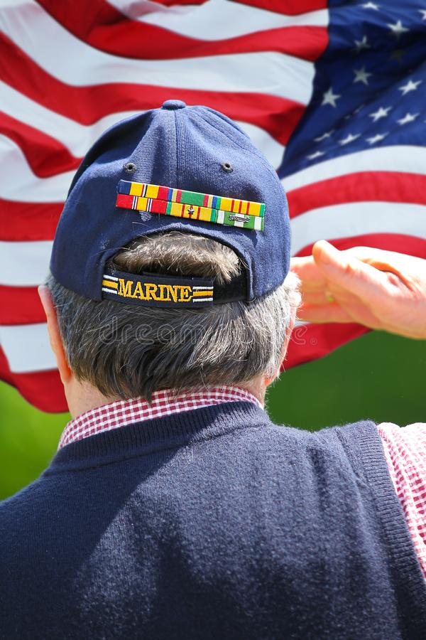 Marine Veteran Saluting arkivfoto