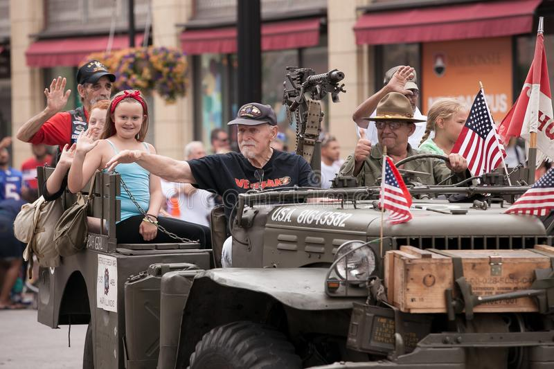Marine Veterans Participating of Fourth of July Parade. At Aurora, IL, July 4, 2016 royalty free stock photo