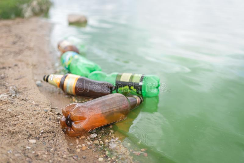 Most plastic waste consists of everyday items such as bags, bottles, food containers stock photography