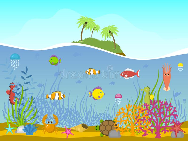 Marine world background vector illustration. Underwater elements, seaweed sand and moss, jellyfish, sea horse and. Marine world background vector illustration vector illustration