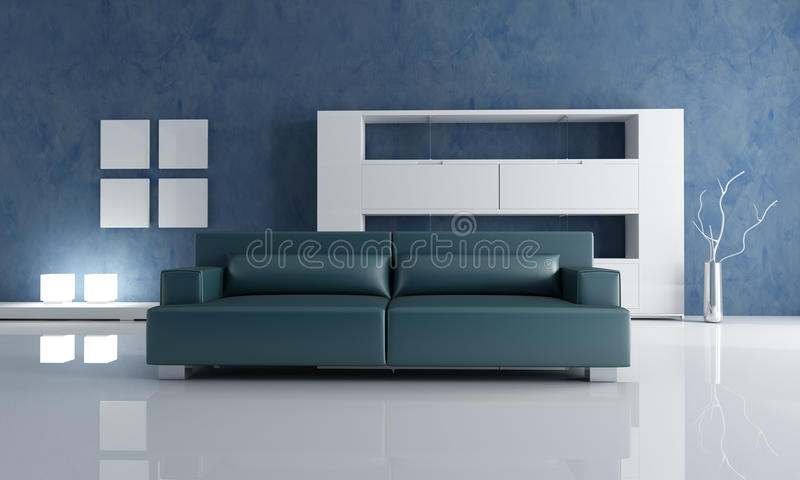 marineblaucouch und wei es leeres b cherregal stock. Black Bedroom Furniture Sets. Home Design Ideas
