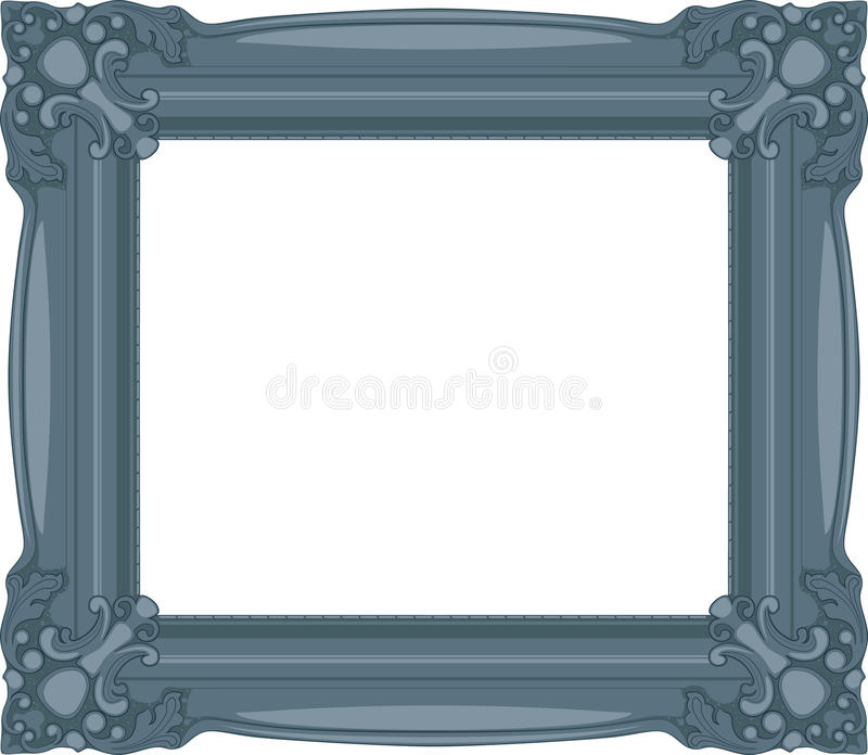 Marineblauw Barok Frame. vector illustratie
