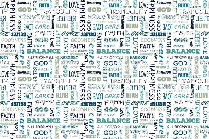 Marineblauw naadloos patroon met woorden: liefde, vrede, saldo, geluk, geloof, God, overtuiging, zorg, goedheid, kalmte stock illustratie