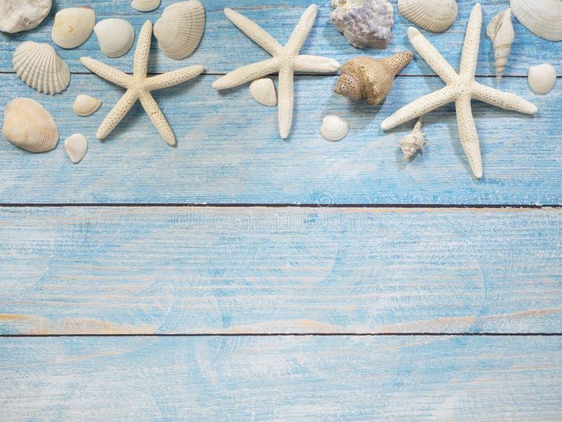 Marinegegenstände, Oberteile und Starfish auf Holz stockfoto