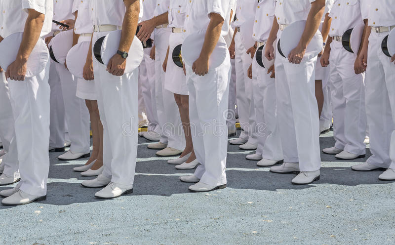 Marinepersoneel in vorming stock fotografie