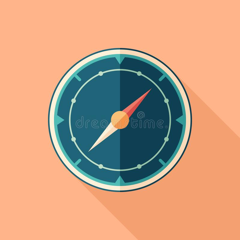 Mariner`s compass flat square icon with long shadows. stock illustration