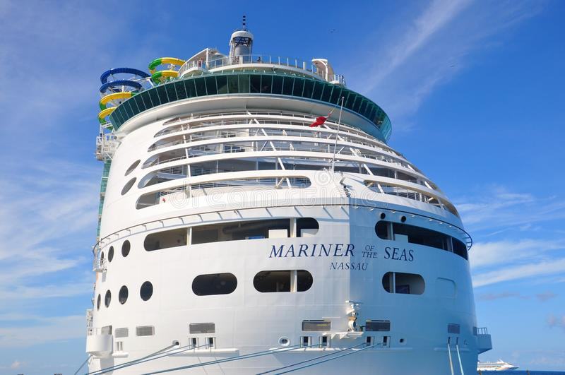 Mariner of the Seas. Docked in CocoCay island, Royal Caribbean International private cruise destination in the Bahamas royalty free stock image