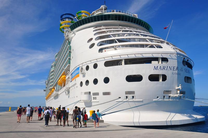 Mariner of the Seas. Docked in CocoCay island, Royal Caribbean International private cruise destination in the Bahamas royalty free stock photos