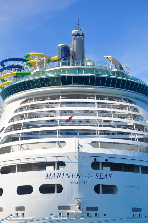 Mariner of the Seas. Docked in CocoCay island, Royal Caribbean International private cruise destination in the Bahamas stock photos