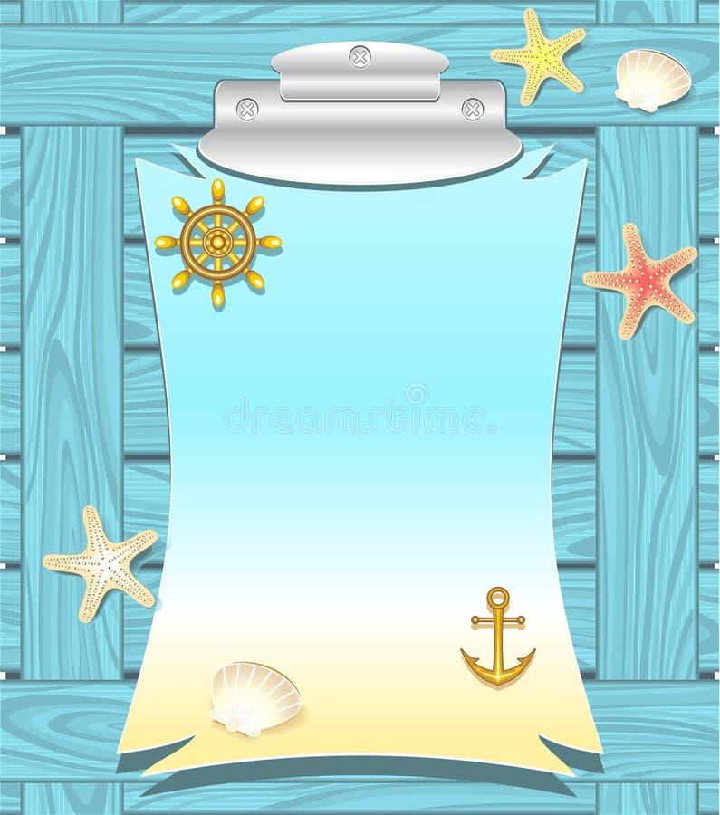 Marinerahmen mit Ankerrad schält Starfishes vektor abbildung