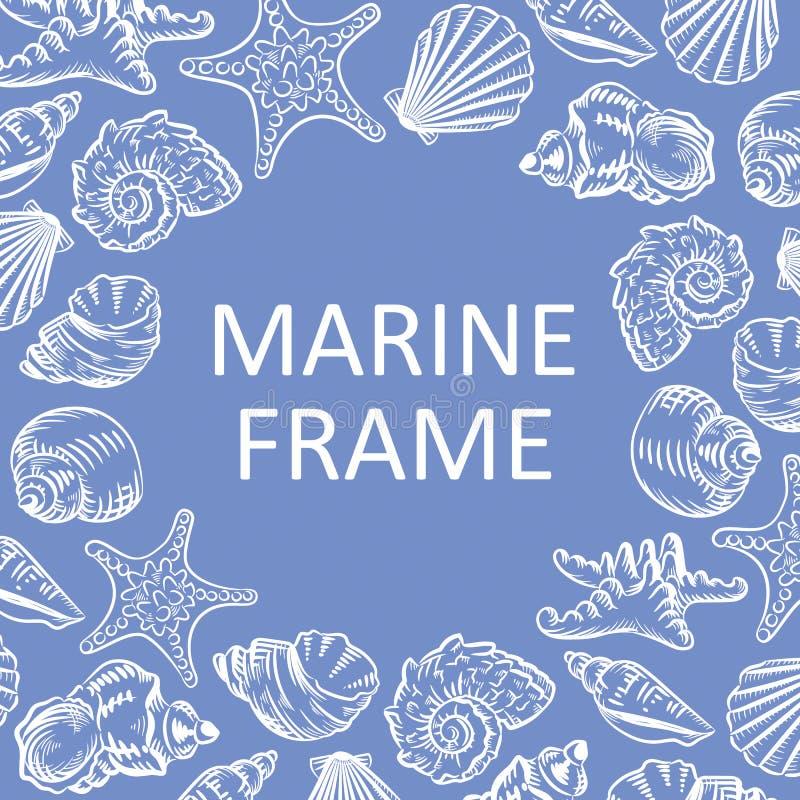 Marinerahmenmuscheln übergeben gezogenes Skizzenart-Illustration patt lizenzfreie abbildung