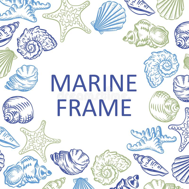 Marinerahmenmuscheln übergeben gezogenes Skizzenart-Illustration patt stock abbildung
