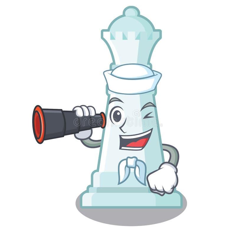 Marinero con la reina binocular del ajedrez en la forma de la historieta libre illustration